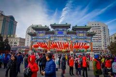 PEKIN, CHINY - 29 STYCZEŃ, 2017: Uczęszczać nowego roku świętowania festiwal w świątyni ziemia park, udziały czerwień Fotografia Stock