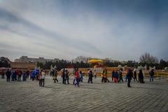 PEKIN, CHINY - 29 STYCZEŃ, 2017: Uczęszczać nowego roku świętowania festiwal w świątyni ziemia park, udziały czerwień Zdjęcia Stock