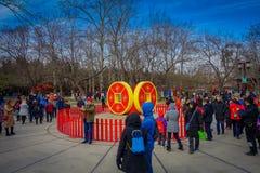 PEKIN, CHINY - 29 STYCZEŃ, 2017: Uczęszczać nowego roku świętowania festiwal w świątyni ziemia park, udziały czerwień Zdjęcie Royalty Free