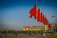 PEKIN, CHINY - 29 STYCZEŃ, 2017: Wielka Hala Ludowa, spektakularny budynek lokalizować na Tianmen kwadracie, wiele czerwień Fotografia Stock
