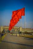 PEKIN, CHINY - 29 STYCZEŃ, 2017: Wielka Hala Ludowa, spektakularny budynek lokalizować na Tianmen kwadracie, wiele czerwień Obraz Stock