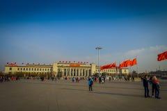 PEKIN, CHINY - 29 STYCZEŃ, 2017: Wielka Hala Ludowa, spektakularny budynek lokalizować na Tianmen kwadracie, wiele czerwień Zdjęcie Stock