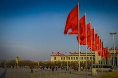 PEKIN, CHINY - 29 STYCZEŃ, 2017: Wielka Hala Ludowa, spektakularny budynek lokalizować na Tianmen kwadracie, wiele czerwień Obraz Royalty Free