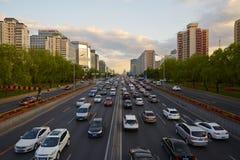 Pekin finanse ulica, zmierzch Fotografia Royalty Free