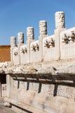 Pekin niedozwolony miasto, Kamienna cyzelowanie poręczówka Œin Chiny i smoka headï ¼, Obraz Royalty Free