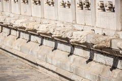 Pekin niedozwolony miasto, Kamienna cyzelowanie poręczówka Œin Chiny i smoka headï ¼, Zdjęcie Stock