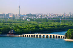 Pekin pejzaż miejski Lato Pałac jezioro obrazy royalty free