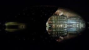 Pekin Porcelanowy Krajowy Uroczysty Theatre przy wieczór nocą zdjęcie wideo