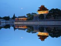 Pekin Zakazująca miasto zegarka wierza noc zdjęcia royalty free
