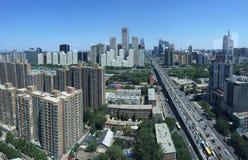 PEKING, CHINA - CIRCA im Juni 2015, die Ansicht über Beijing' s-Finanzzentrum stockfotografie