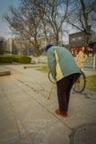 PEKING, CHINA - 29. JANUAR 2017: Alte chinesische Mannmalerei mit Wasser auf Steinfliesen, traditionelle neue Jahre wünscht Lizenzfreies Stockbild