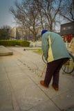 PEKING, CHINA - 29. JANUAR 2017: Alte chinesische Mannmalerei mit Wasser auf Steinfliesen, traditionelle neue Jahre wünscht Lizenzfreie Stockbilder