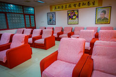 PEKING, CHINA - 29 JANUARI, 2017: Chinese massagekliniek met ruimtehoogtepunt van comfortabele die stoelen voor het geven van voe Royalty-vrije Stock Afbeelding