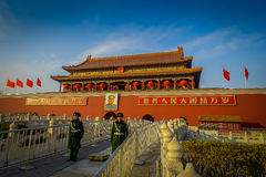 PEKING, CHINA - 29 JANUARI, 2017: Mooie de tempelbouw binnen verboden stad, typische oude Chinese architectuur stock afbeelding