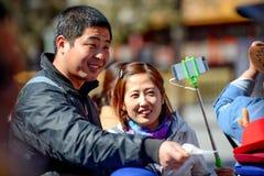 PEKING, CHINA - 11. MÄRZ 2016: Verbotene Stadt Touristen photog Stockfotografie
