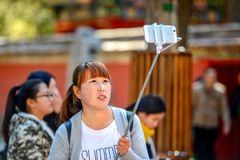 PEKING, CHINA - 11. MÄRZ 2016: Verbotene Stadt Touristen photog Lizenzfreies Stockfoto