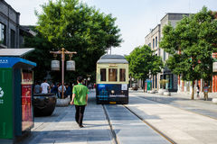 Peking, China - Mei 19, 2016: Chinese Tram op QianMen-straat, F Royalty-vrije Stock Foto's