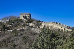 Peking, China 18 November, 2017: De Grote Muur van China, Badaling stock foto's