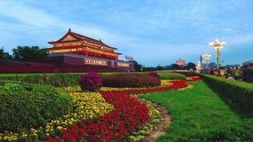 Peking, 6 China-Oct, 2014: Van dag aan nacht bij Tiananmen-Vierkant in Peking, China