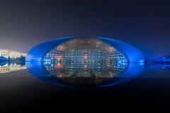 Peking, China - 21. Oktober 2017: Die schöne Nachtszene der nationalen großartiges Theater-nationalen Mitte für die Ausführung lizenzfreies stockbild