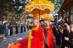 Peking Dafa betet für Weltfrieden Stockbild