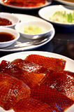Peking duck. Delicious peking duck with Side dishes Royalty Free Stock Photography