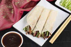 Peking Duck. Chinese roast duck served with cucumber, spring onion and hoisin sauce, wrapped in pancakes Royalty Free Stock Images