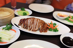 Peking Duck. Prepared Peking Duck with pancakes, spring onions and sweet bean sauce Royalty Free Stock Photo