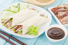 Peking Duck. Chinese roast crispy duck, cucumber and spring onions wrapped in pancakes served with hoisin sauce Royalty Free Stock Photos