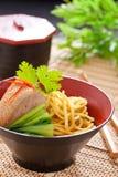 Peking duck noodle. Asian roasted duck noodle soup stock photos