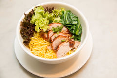 Peking Duck noodle soup in a white bowl Royalty Free Stock Photos
