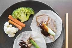 Peking duck in pancake Stock Photography