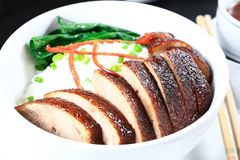 Peking duck rice topping. Slices of roasted peking duck rice topping Royalty Free Stock Photo