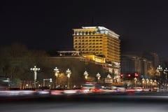 Peking-Hotel an Chang An-Straße nachts, China Lizenzfreie Stockbilder