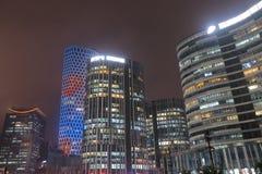 Peking Kina för Sanlitun kommersiell områdescityscape royaltyfri fotografi