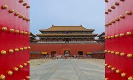 Peking Kina - Maj 16, 2018: Gugong Forbidden City slott arkivfoton