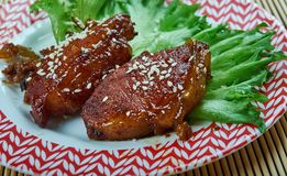 Peking Pork Chops. Jing Du Pork, Sweet and sour pork chop, Americanized `Chinese` dish royalty free stock photography