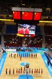Peking-setzte sich olympische Korbkugel Arena in Service Stockbilder