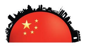 Peking-Skylineflaggenatmosphäre stock abbildung
