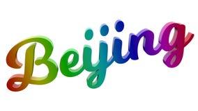 Peking-Stadt-Name kalligraphisches 3D machte Text-Illustration gefärbt mit RGB-Regenbogen-Steigung Lizenzfreie Stockbilder