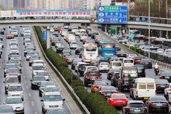 Peking-Stau und Luftverschmutzung lizenzfreie stockfotografie