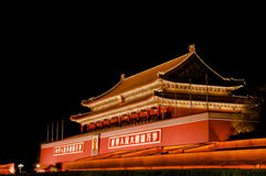 Peking Tiananmen bij nacht Stock Afbeeldingen
