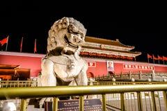Peking-Tiananmen-Platz-Nachtansicht Lizenzfreies Stockbild