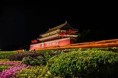Peking-Tiananmen-Platz-Nachtansicht Stockbild