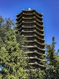 Peking University. Unknown lake tower blue sky beautiful architecture wood made fun fall love live study photography Royalty Free Stock Photography