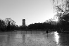 Frozen weiminghu lake of peking university in winter, black and white image Stock Photography