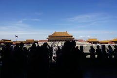 Peking Verboden Stadstoeristen stock afbeeldingen