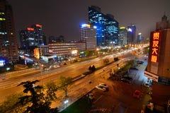 Peking vid natt Kina Arkivbilder