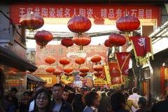 PekingDazhalan marknad, berömd Wangfujing mellanmålgata Fotografering för Bildbyråer
