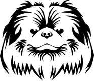 Pekingese head. Stylized black and white vector illustration Royalty Free Stock Photography